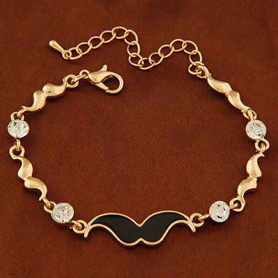 Velvet Gold Color Diamond Decorated Mustache Shape Design Alloy Korean Fashion Bracelet