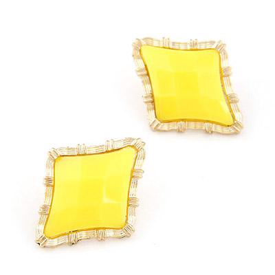 Girls Yellow Rhombus Shape Simple Design Alloy Stud Earrings