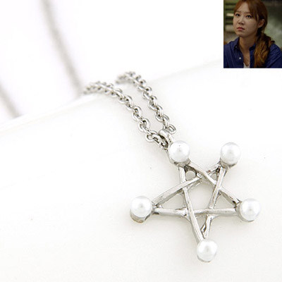 Extreme Silver Color Pearl Decorated Star Pendant Design Alloy Bib Necklaces
