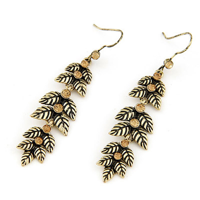 Bridesmaid Bronze Leaf Shape Simple Design Alloy Korean Earrings