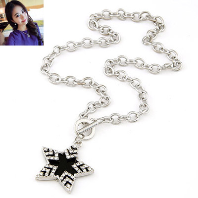 Venetian Silver Color Diamond Decorated Star Pendant Design Alloy Chains