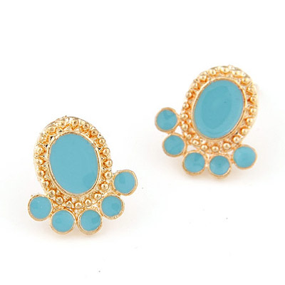 Natural Blue Squid Shape Simple Design Alloy Stud Earrings