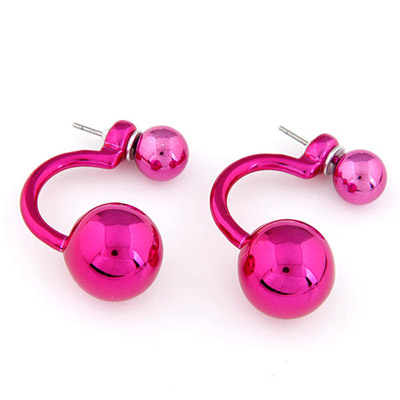 Attractive Dark Plum Red Round Shape Simple Design Alloy Stud Earrings