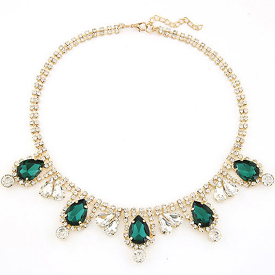 Medieval Dark Green Diamond Decorated Waterdrop Shape Design Alloy Bib Necklaces