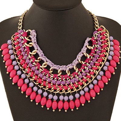 Promise Plum Red Beads Weave Multilayer Design