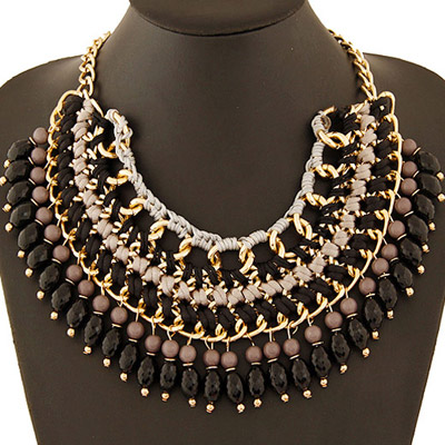 Highwaist Black Beads Weave Multilayer Design