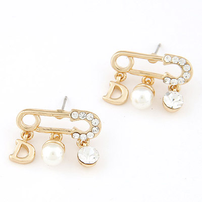 Executive White Letter D Decorated Pin Shape Design