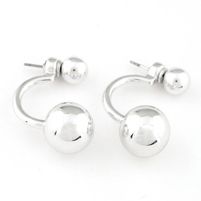 University Silver Color Round Shape Simple Design Alloy Stud Earrings