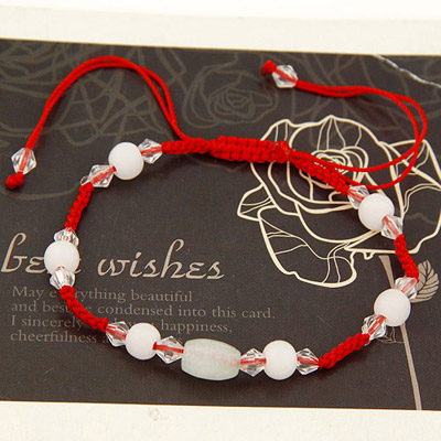 Charm Red Beads Decorated Weave Design Alloy Korean Fashion Bracelet