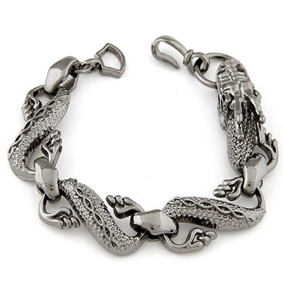 Expired Gun Black Dragon Shape Decorated Simple Design Alloy Korean Fashion Bracelet