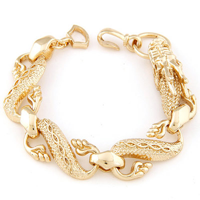 Unique Gold Color Dragon Shape Decorated Simple Design Alloy Korean Fashion Bracelet