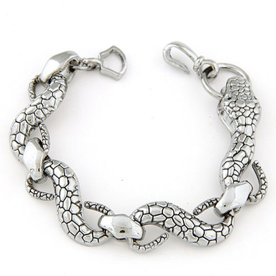 Cranes Silver Color Snake Shape Decorated Simple Design Alloy Korean Fashion Bracelet
