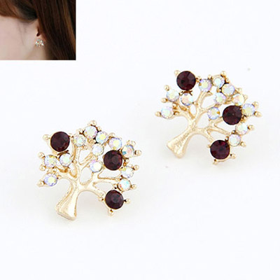 Cheerleadi Color White Diamond Decorated Tree Shape Design Alloy Stud Earrings