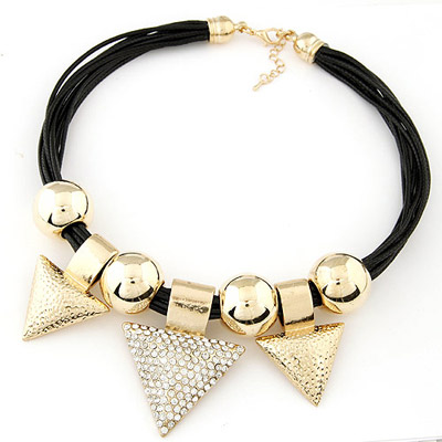 Pentacle Gold Color Triangle Pendant Simple Design Alloy Bib Necklaces