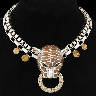 Lucky Brown Diamond Decorated Leopard Head Shape Design Alloy Bib Necklaces