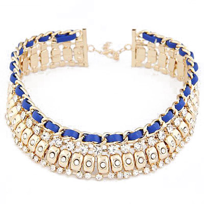 Peterbilt Blue Diamond Decorated Multilayer Design Alloy Bib Necklaces