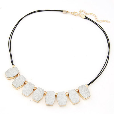 Wonderful Silver Color Geometrical Shape Simple Design Alloy Bib Necklaces