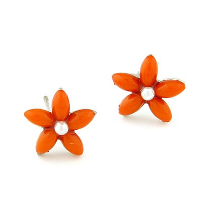 Stretch Orange Flower Decorated Simple Design Alloy Stud Earrings