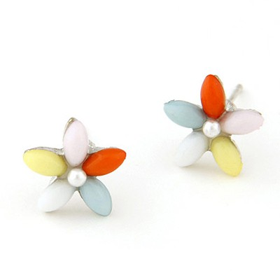 Sample Multicolor Flower Decorated Simple Design Alloy Stud Earrings