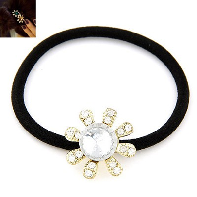 Sparrow White Diamond Decorated Flower Design Alloy Hair Band Hair Hoop
