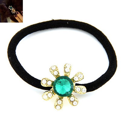 Hemming Green Diamond Decorated Flower Design Alloy Hair Band Hair Hoop
