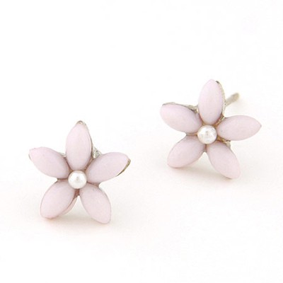 Flip Light Purple Flower Decorated Simple Design Alloy Stud Earrings