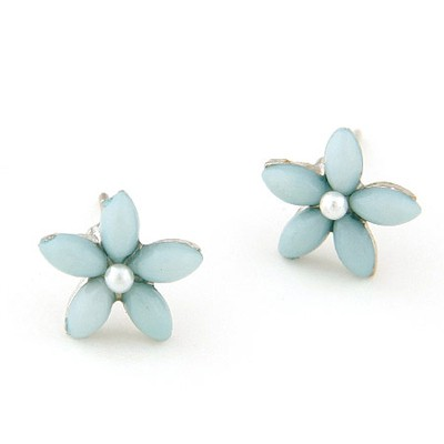 Handmade Light Blue Flower Decorated Simple Design Alloy Stud Earrings
