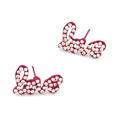 Locket Plum Red Diamond Decorated Letter Love Design Alloy Stud Earrings
