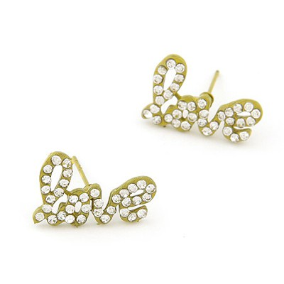 Expensive Yellow Diamond Decorated Letter Love Design Alloy Stud Earrings
