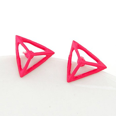 Seamless Plum Red Triangle Shape Simple Design Alloy Stud Earrings