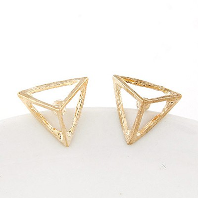 Scrapbooki Gold Color Triangle Shape Simple Design Alloy Stud Earrings