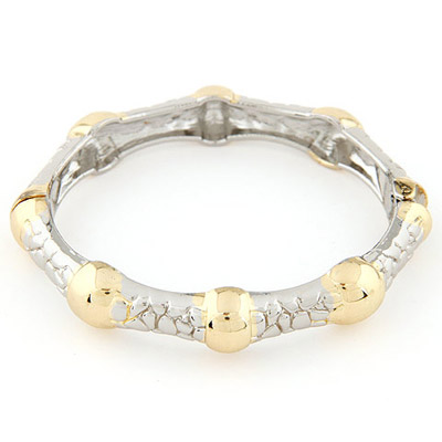 Celtic Gold & Silver Color Round Shape Decorated Stitching Design Alloy Fashion Bangles