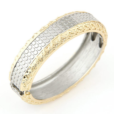 Mysterious Gold & Silver Color Dot Decorated Carved Design Alloy Fashion Bangles