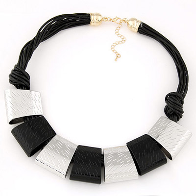 Vintage Silver Color Rectangular Shape Simple Design Alloy Bib Necklaces