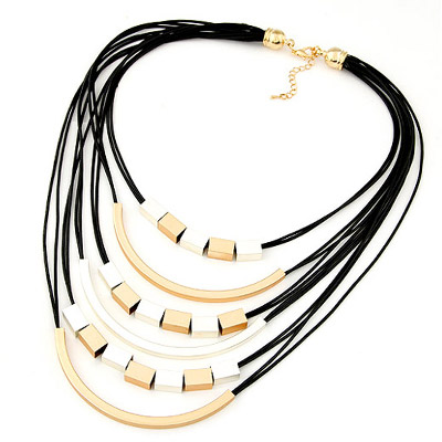 Parker Gold Color Rectangular Shape Decorated Multilayer Design Alloy Bib Necklaces