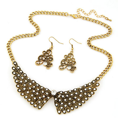Jockey Bronze Diamond Decorated Wings Shape Design Alloy Jewelry Sets