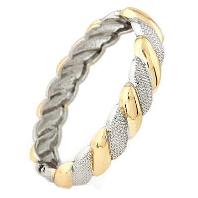 Short Gold & Silver Color Round Shape Stitching Design Alloy Fashion Bangles