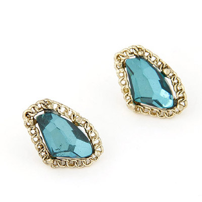 Funny Blue Gemstone Decorated Geometrical Shape Design Alloy Stud Earrings