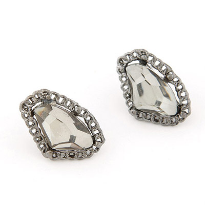 Corduroy Champagne Gray Gemstone Decorated Geometrical Shape Design Alloy Stud Earrings