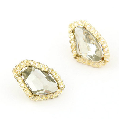 Marathon Gold Color Gemstone Decorated Geometrical Shape Design Alloy Stud Earrings