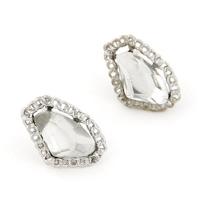 Vintage Silver Color Gemstone Decorated Geometrical Shape Design Alloy Stud Earrings