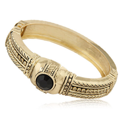Tungsten Bronze Gemstone Decorated Round Shape Design Alloy Fashion Bangles