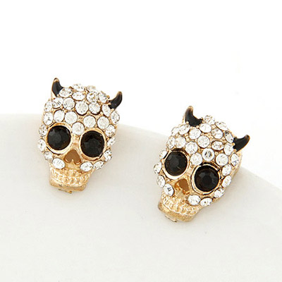 Roll Black Diamond Decorated Skull Shape Design Alloy Stud Earrings