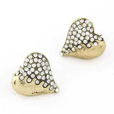 Formal Bronze Diamond Decorated Heart Shape Design Alloy Stud Earrings