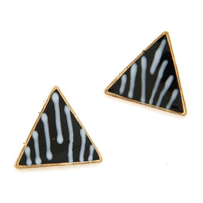 Skate Black Triangle Shape Simple Design Alloy Stud Earrings
