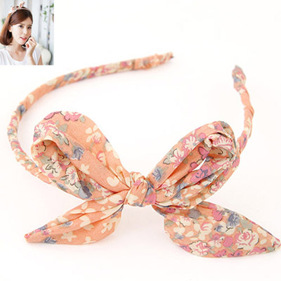 Tapered Light Oragne Bowknot Decorated Flower Pattern Design Fabric Hair Band Hair Hoop