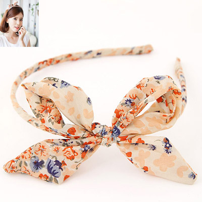 Tungsten Multicolor Bowknot Decorated Flower Pattern Design Fabric Hair Band Hair Hoop