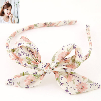 Rave Purple Bowknot Decorated Flower Pattern Design Fabric Hair Band Hair Hoop