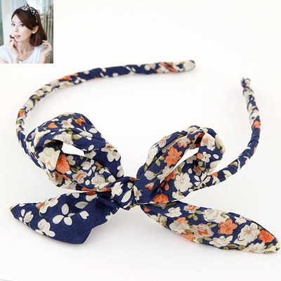 Caspari Navy Blue Bowknot Decorated Flower Pattern Design Fabric Hair Band Hair Hoop