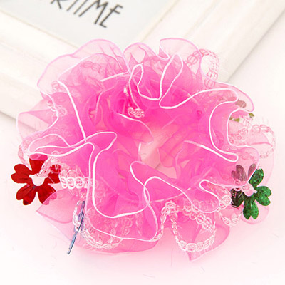 Fair Light Plum Red Flower Decorated Lace Design Rubber Band Hair band hair hoop